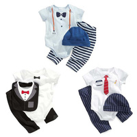 2016 NEW Design Baby Boy Romper Set Hand Painted Patterns Romper Pants Cap Bib Summer Suit