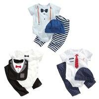 2016 NUOVO Disegno Baby Boy Pagliaccetto set modelli dipinti a Mano romper + pants + cap/bib vestito di Estate Cute Baby Pagliaccetto Vestiti Appena Nati girs