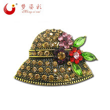 MZC 2016 New Arrival Cute Hat Brooch Femal Broche Pin Women Rhinestone Cap Jewelry Cheap Accorries Gift for girl X1299