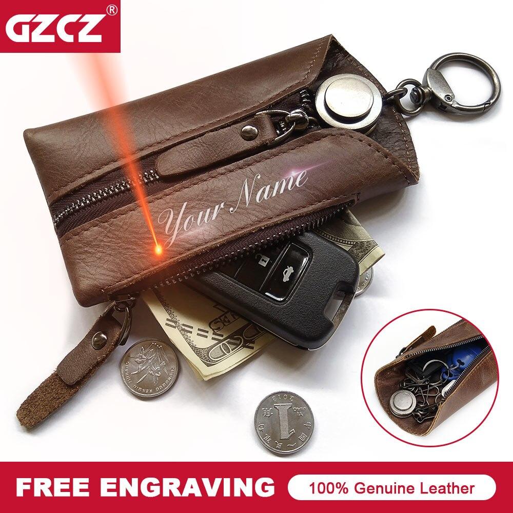 Portable Genuine Leather Key Wallet Holder Organizer Car Keyring Key Chain Pouch