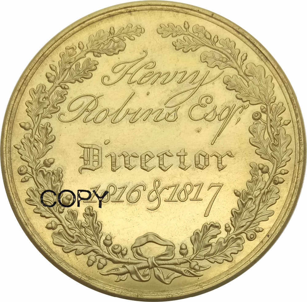 Liên Hiệp Anh Westminster Lửa Văn Phòng Huy Chương Vàng năm 1717/1817 Henry Robins ESQ Đồng Bản Sao Đồng Tiền