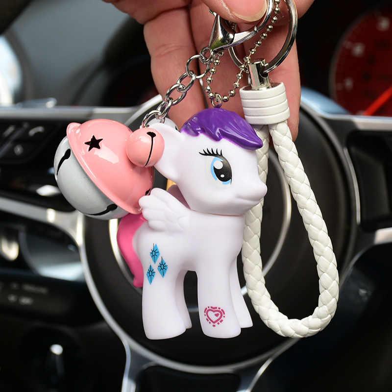 Anime dos desenhos animados bonito cavalo sino decoração de pele de coelho pom pom chaveiro sleutelhanger chaveiros bolsa feminina charme porte clef