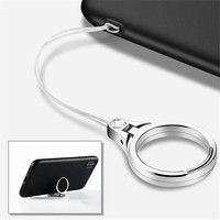 Metal Lanyard For Keys Phones Strap for iPhone 7 Plus 8 6S Keycord Lanyards Finger Mobile Holder Stand Accessories Cellphones & Telecommunications