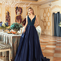 Sexy Elegant Long Women Evening Ceremony Dresses Ever Pretty Satin Floor Length PromGown Court Train Beads Backless CC546