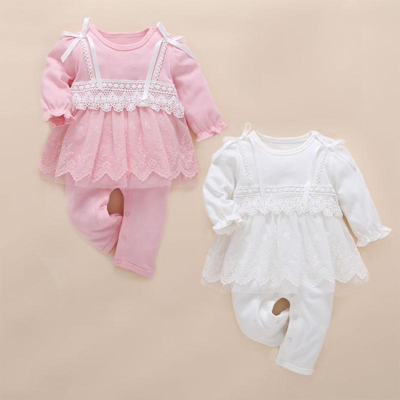 Nouveau-né bébé fille vêtements bébé barboteuses mignon rose dentelle combinaison bébé recien nacido roupas infantis menina bébé barboteuse