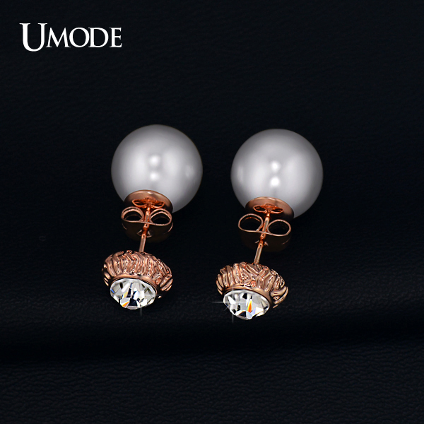 font b UMODE b font Rose Gold Rhodium plated Austrian Rhinestone Fashion Simulated Pearl Stud