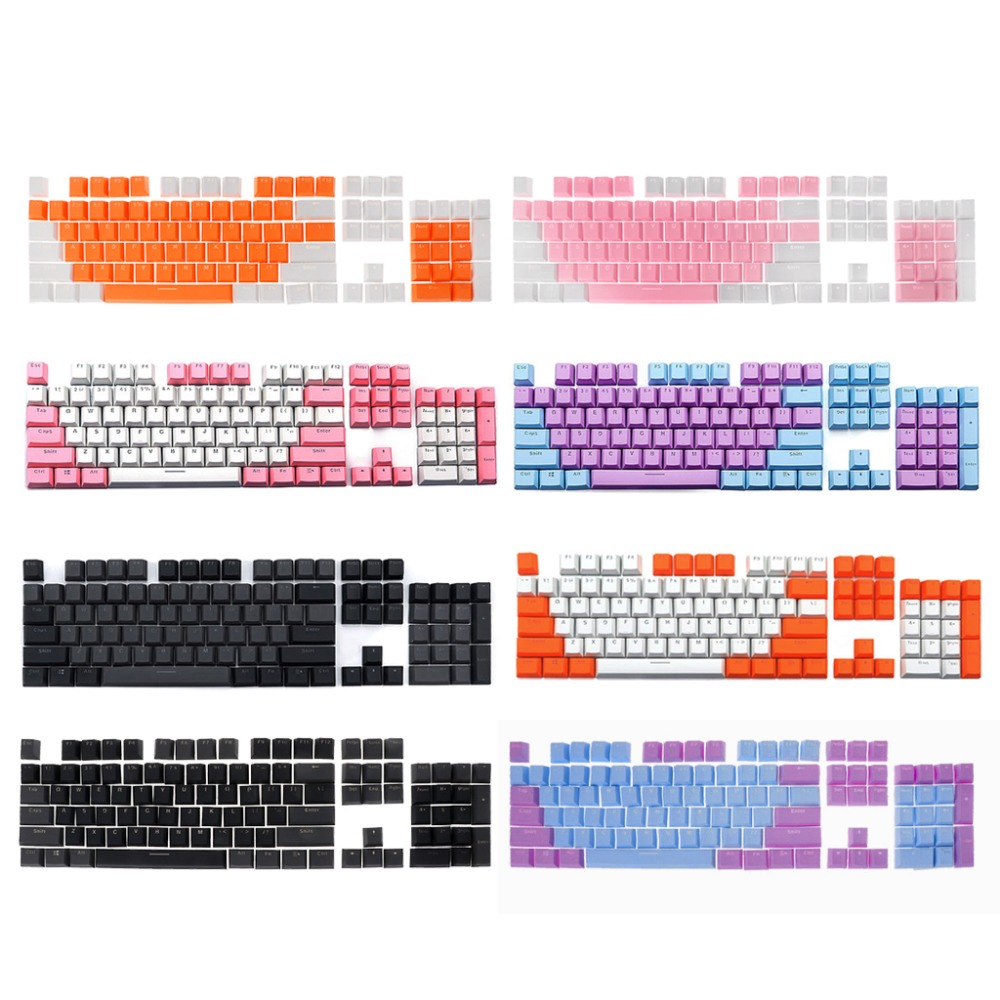 1Set Translucent Double Shot PBT 104 KeyCaps Backlit For Outemu For Gateron For Kailh For Mechanical Cherry MX Switch