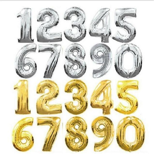 Feuille Ballon 40 cm Mignon Or Argent Nombre Lettres D'anniversaire Décoration Ballon Chiffres D'hélium Ballon Parti Décoration De Mariage