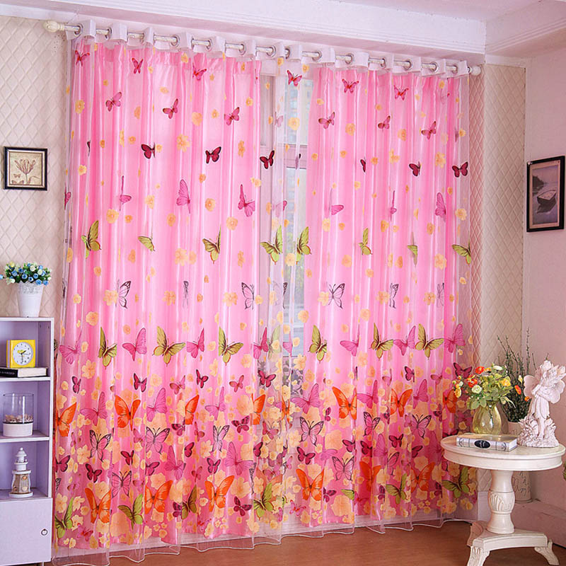 Butterfly Print Sheer Window Tulle Curtains Room Divider for living room  bedroom girl pink curtains for bedroom 006. Girls Pink Curtains Promotion Shop for Promotional Girls Pink