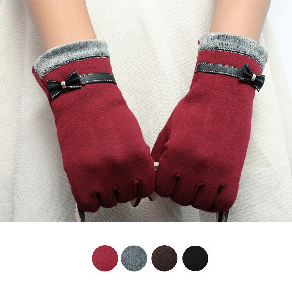 Feitong Elegant Womens Gloves Screen Winter Warm Bow Soft Wrist Gloves Mittens Cashmere Full Finger Guantes Mujer Handschoenen