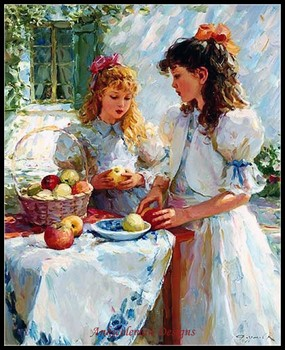 Needlework for embroidery DIY DMC High Quality - Counted Cross Stitch Kits 14 ct Oil painting - Girls and Apples