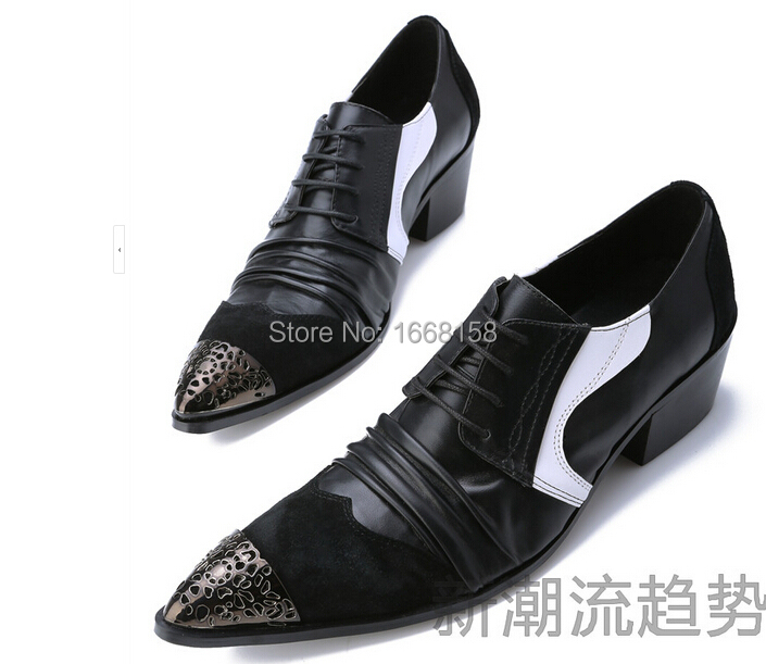 f6e2c5da4069c 2015 Genuine Leather Patchwork Oxford Shoes Metal Pointed Toe ...