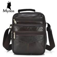 MYNOS Новый 100% Натуральная Кожа Мужчины Сумка Случайные Старинные Сумки мужчина Мешок Люксовый Бренд Дизайнер сумки На Ремне, Crossbody Сумка Для мужчины