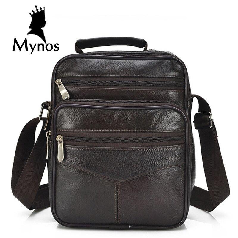 MYNOS New 100 Genuine Leather Men font b Bag b font Casual Vintage Handbag Male font