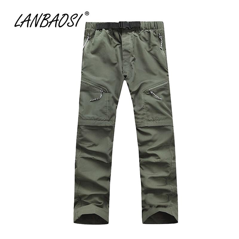 все цены на LANBAOSI Outdoor Sports Men's Hiking Pants Quick Dry Convertible Cargo Pants Lightweight
