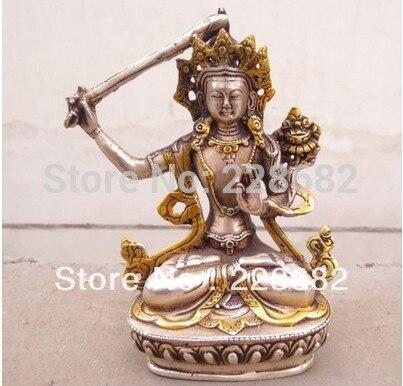 Ev ve Bahçe'ten Statü ve Heykelleri'de Metal El Sanatları çin tibet beyaz bakır ve yaldızlı Buda heykeli 15*10 cm hızlı KARGO