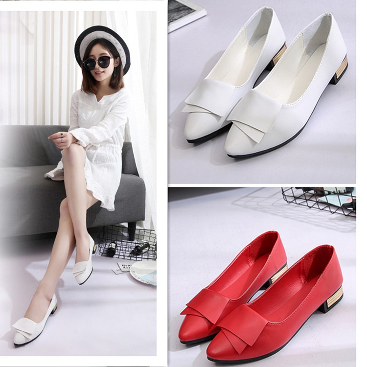 Women Flats Women 39 S Shoes Woman Soft Faux Leather Pointed Toe Slip On Office Lady Ol Ladies Shoes Loafers Low Heel Red Shoes