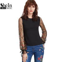 SheIn Black Embroidered Mesh Sleeve T Shirt Women T Shirt Long Sleeve Round Neck Spring Summer