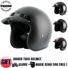 Бесплатная доставка, углеродного Волокна открытое лицо 3/4 мотоциклов мотоцикл мотокросс шлем Каско Capacete, реактивный Старинные Ретро шлем, ECE