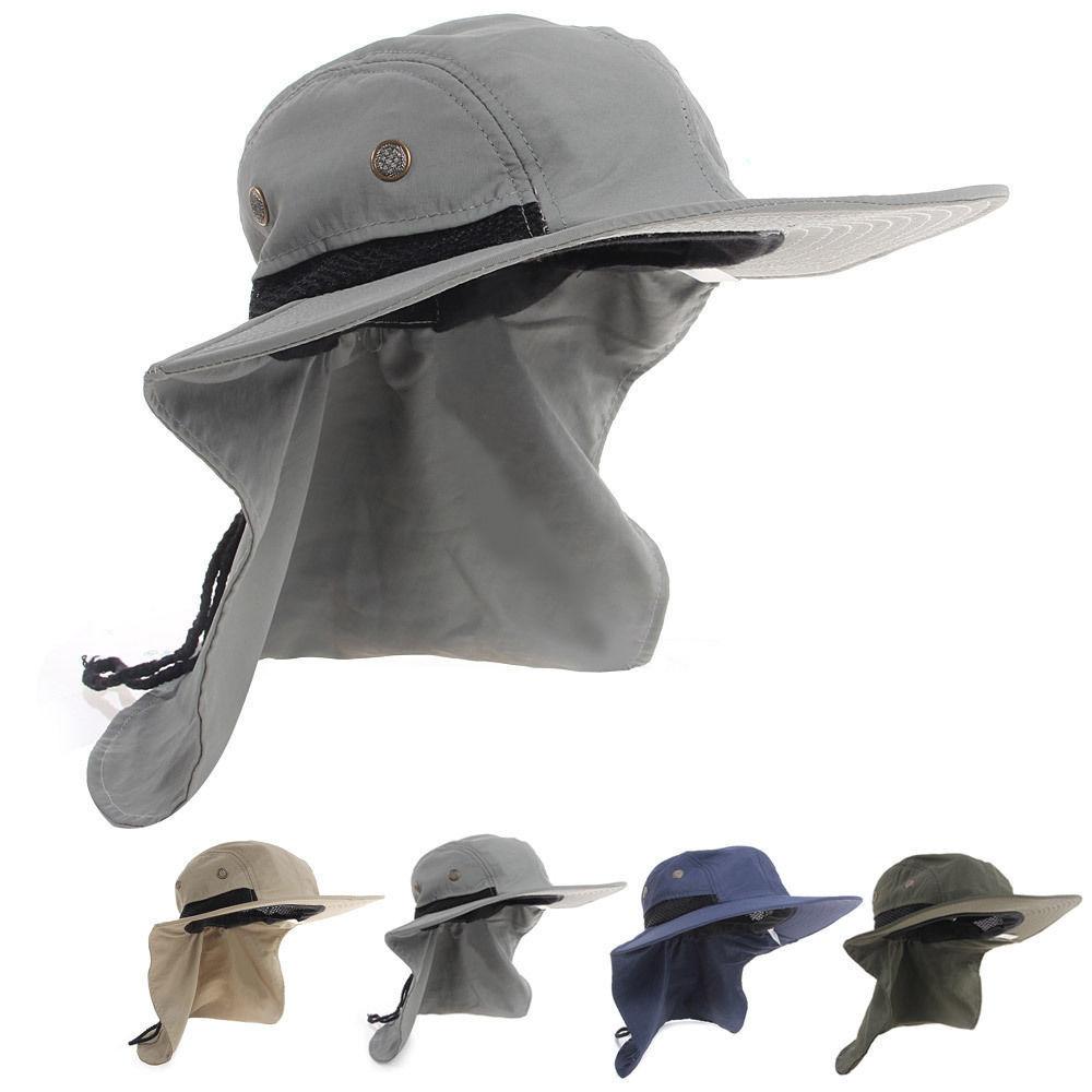 Casual Neck Flap Boonie Hat Fishing Hiking Safari Outdoor 4 Colors Sun Brim  Bucket Bush Cap 6a75e3475899