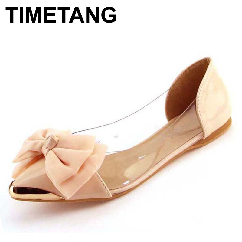 TIMETANG new spring summersweet women flats,pointed sequined toe with big bowtie shoes for women,cansual shoes free shipping pu pointed toe flats with eyelet strap