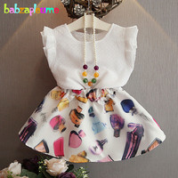 2PCS 0 7Years Summer Style Baby Girls Boutique Clothing Fashion Sleeveless T Shirt Skirt Korean Kids