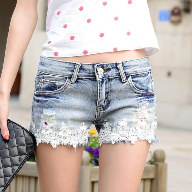 2017 novas flores de renda shorts jeans feminino Coreano modelos femininos de verão calções MULHERES por atacado