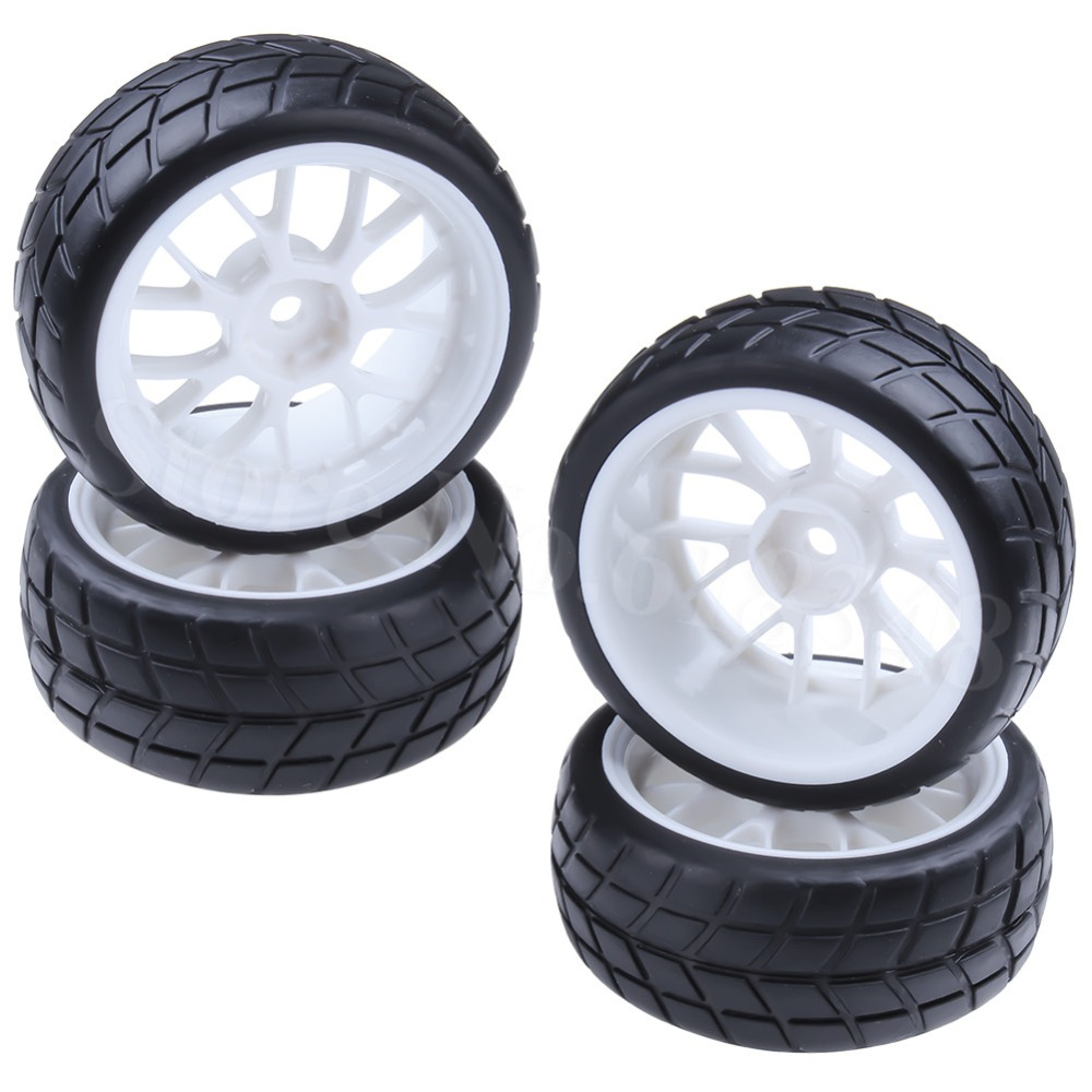 4Pcs Rubber RC Flat run Tire & Wheel Rims Drive Hex 12mm Untuk 1: 10 HSP HPI Racing On Road Cars 4WD