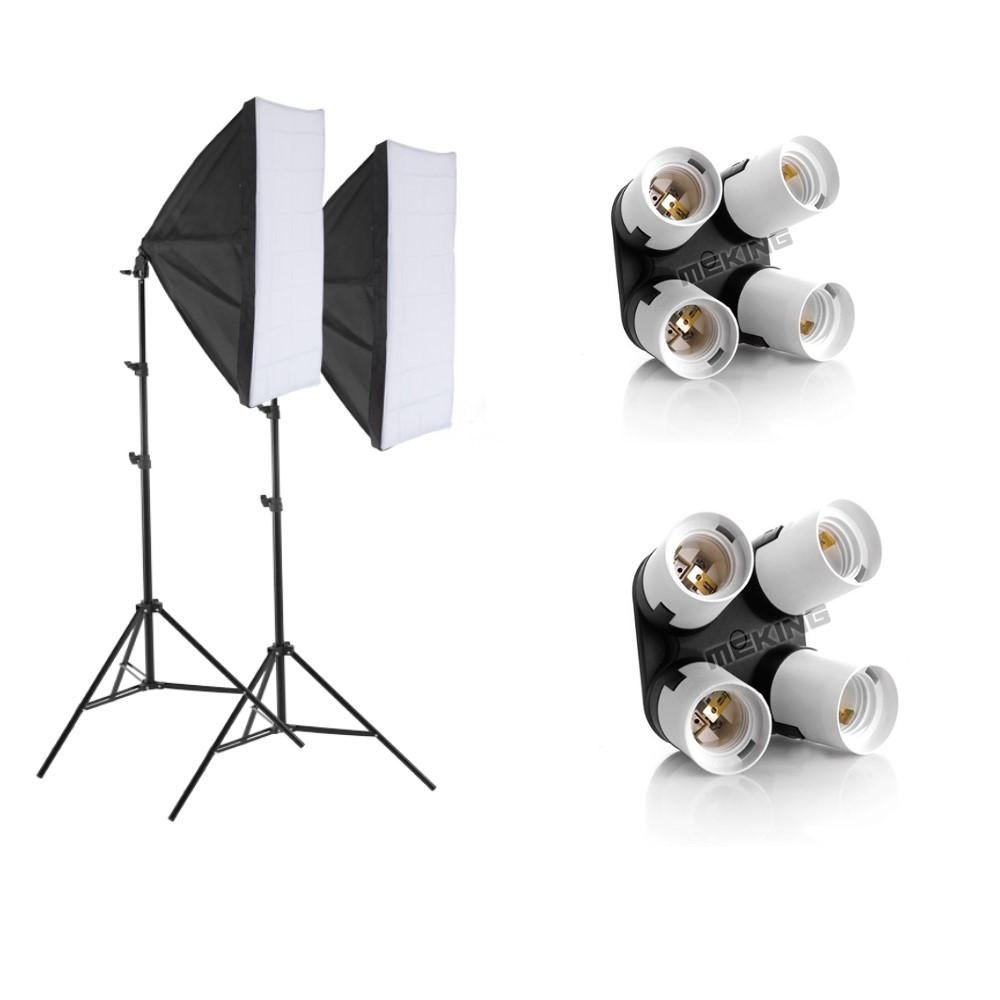Photo Studio Kit Photography Lighting 2PCS*4 Socket Lamp Holder +2PCS* 50*70CM Softbox +2PCS*2m Light Stand Photo Soft BoxPhoto Studio Kit Photography Lighting 2PCS*4 Socket Lamp Holder +2PCS* 50*70CM Softbox +2PCS*2m Light Stand Photo Soft Box