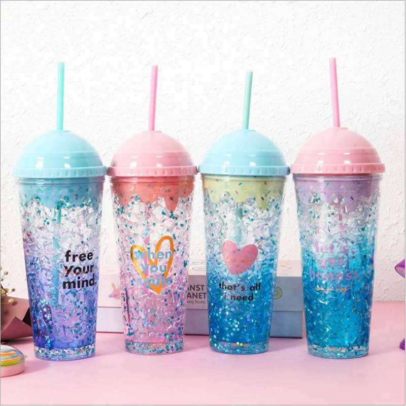 OWNPOWER Creative Cup Ice Cream Straw Mug Gel Design Summer Drinking Water Bottle Shaker Plastic Drinkware Cup 2018 Sport Gift