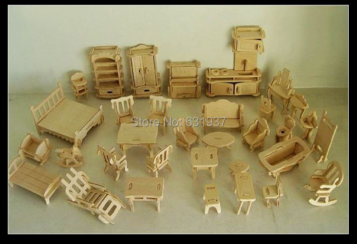 34 unids/set DIY 1:12 casa de muñecas Mini miniatura muebles casa de muñecas educativa juguete 3d madera rompecabezas de construcción de juguete