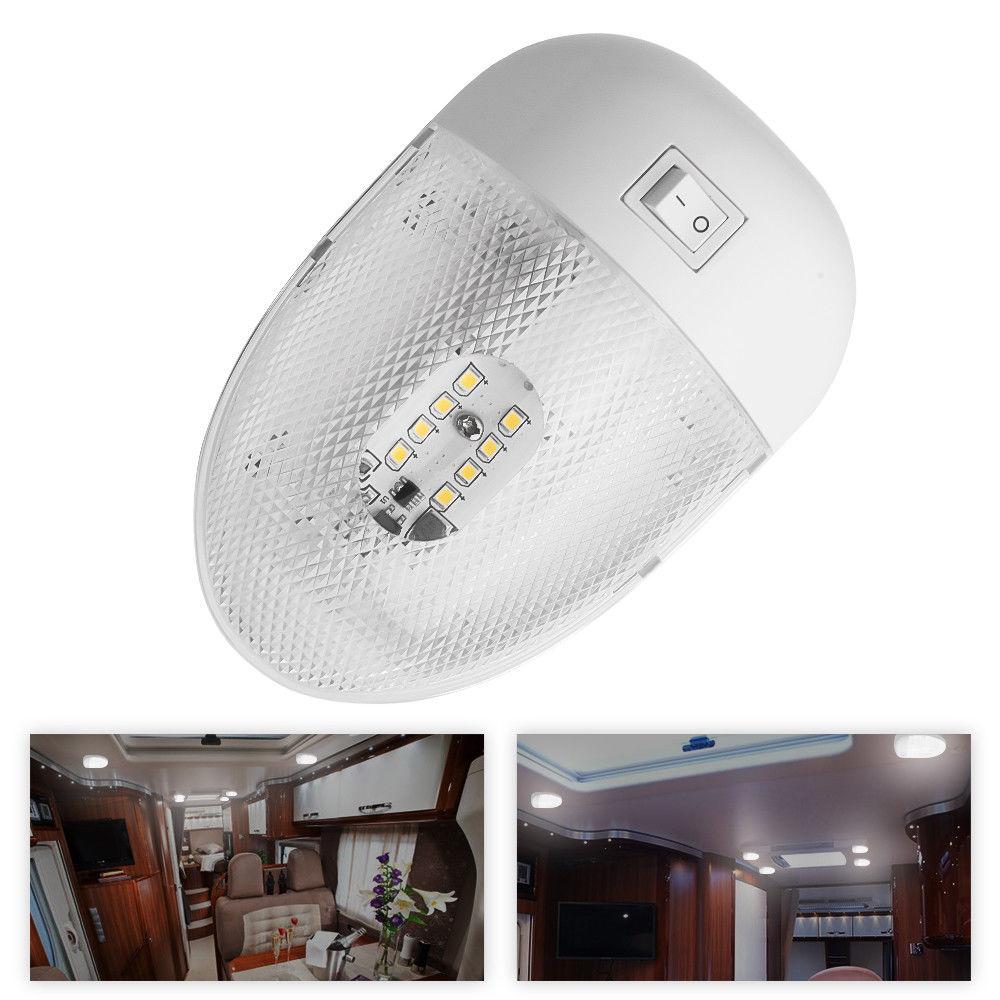 1X RV LED 12V 2W Fixture Ceiling Camper Trailer Marine Single Dome Light 12 Volt