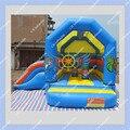 Rápido Frete Grátis Azul Inflável Bouncer Com Slide no Lado Do Mundo Do Mar 4 Metros por 4.5 Metros Inflável Jumper de Castelo
