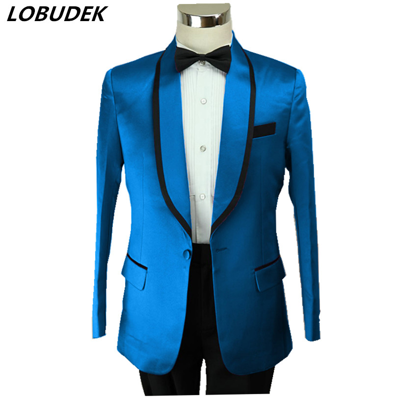 Mens Formal Suit Jackets Prom Party Wedding Groom coat Bar Nightclub Singer Host stage Costumes fashion slim outerwear DS Show