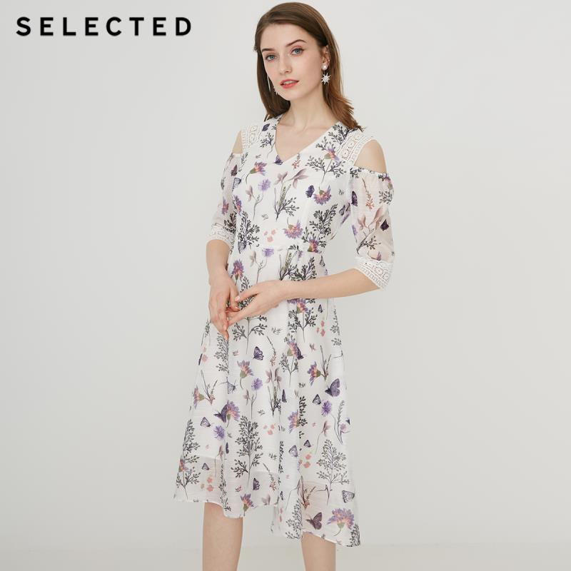 SELECTED Summer Slim Fit Printed Lace Midi Dress S|41922J517