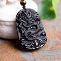 beautiful 55x42mm Chinese Handwork Black Obsidian Carved Dragon Amulet Lucky pendant necklace Fashion Jewelry