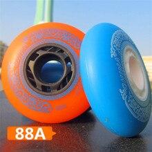 Roues coulissantes célèbres de marque chinoise, 88A avec Orange bleu, 80mm, 76mm, 72mm, pour patins de ligne, lot de 4 pièces
