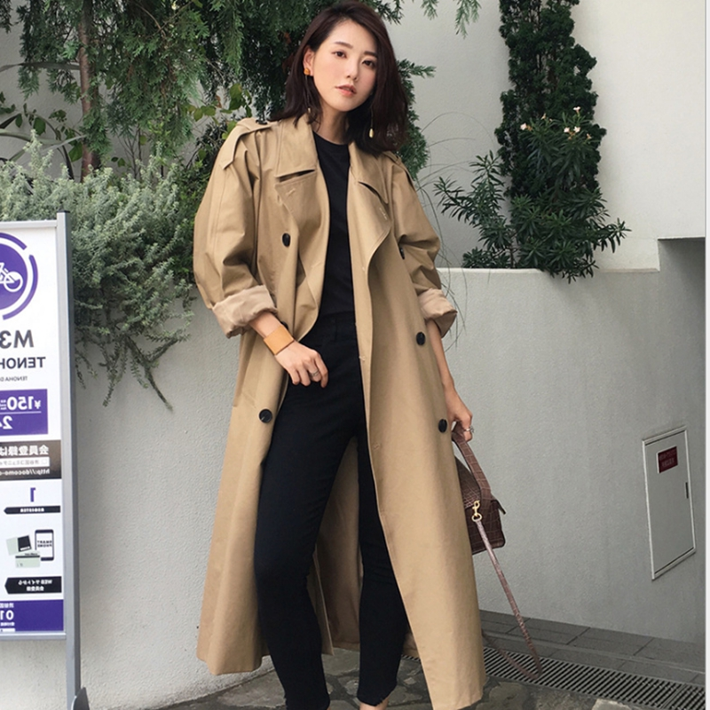 AutumnWomen's trench coat winter coat  Casual oversize Double Breasted Outwear