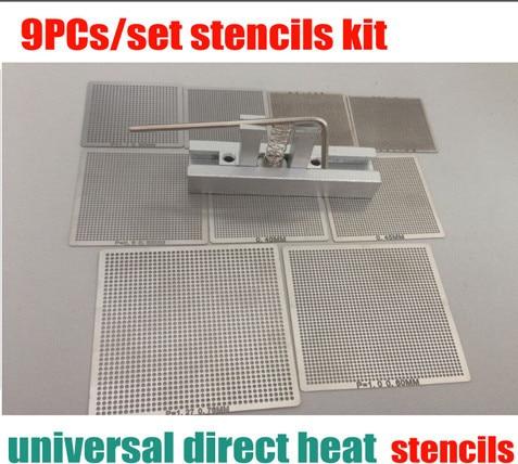 Livraison gratuite 9 pcs/ensemble Bga Rebillage Universel Pochoir Tample Kit avec livraison Universelle Reball Station