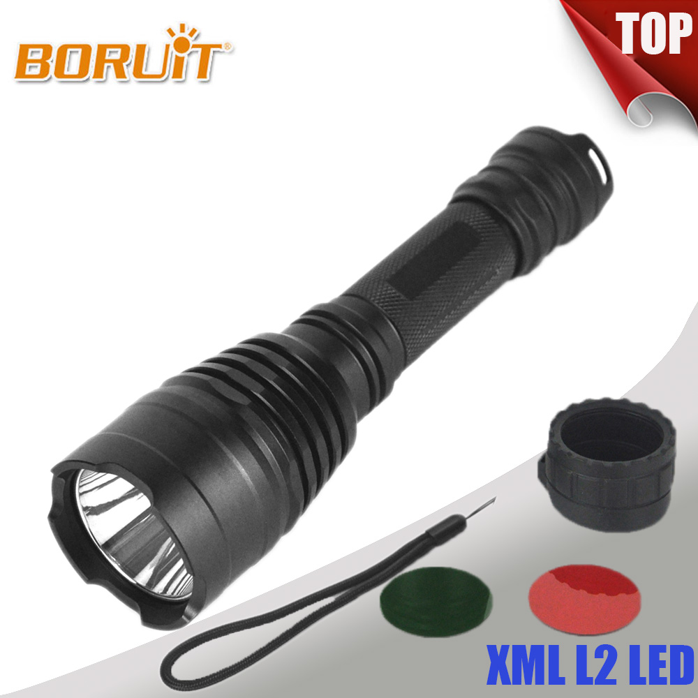 BORUIT 1200 Lumen XPE LED Flashlight 3 Light Colors 1 Mode Falshlamp 18650 Battery Falsh Torch For Fishing Hunting Free shipping ultrafire c2 t60 3 mode 1200 lumen white led flashlight with strap black 1 x 18650
