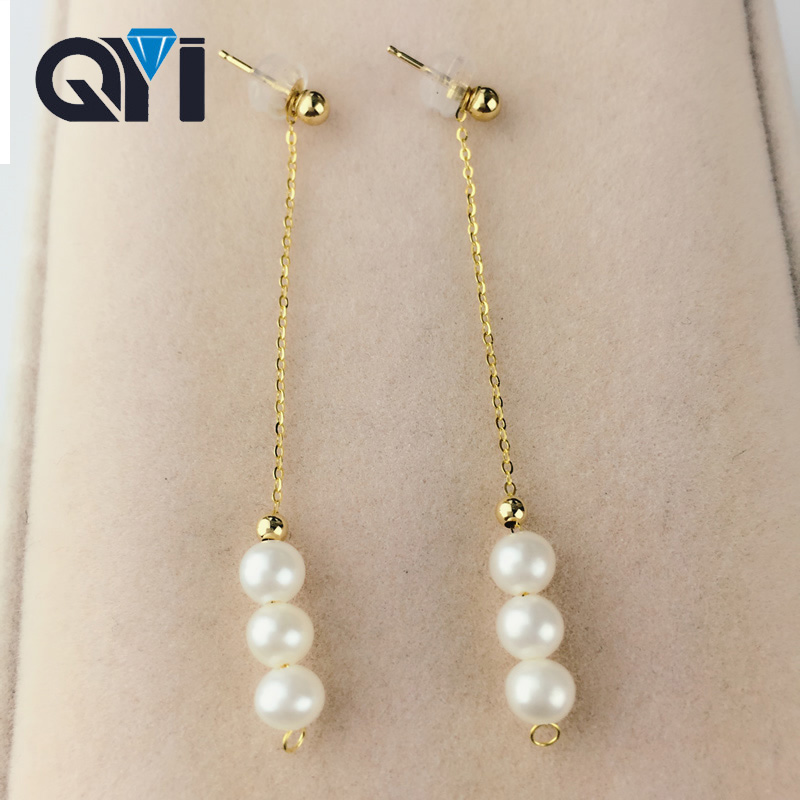 QYI 18K Rose Gold Jewelry Natural Cultured Freshwater Pearl Drop Dangle Earrings for Women 3 pcs 4.5-5mm Pearl Customizable цена и фото