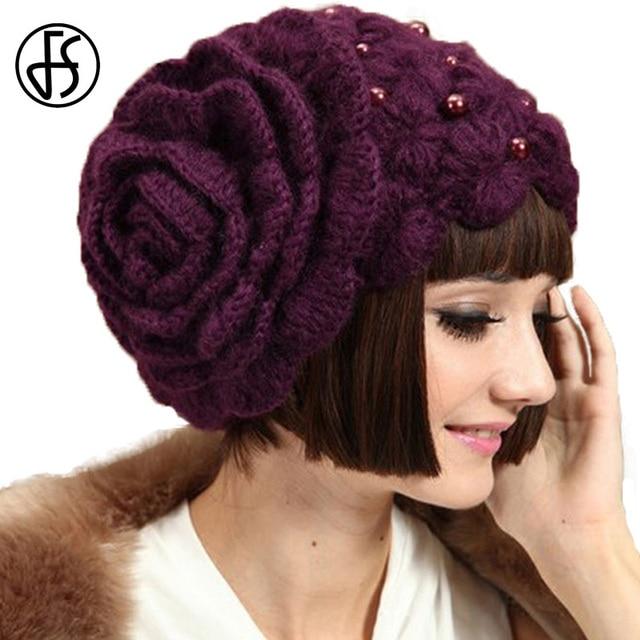 Winter Wool Beanies Purple Flowers Women 2018