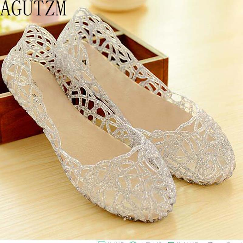 AGUTZM Women's Sandals 2018 Fashion Lady Girl Sandals Summer Women Casual Jelly Shoes Sandals Hollow Out Mesh Flats 23-25cm V112 fashionable women s sandals with platform and hollow out design