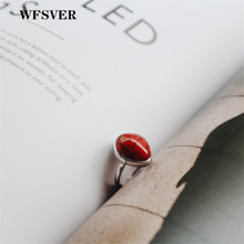 купить WFSVER 925 sterling silver wedding ring for women korea style with red turquoise ring opening adjustable fine jewelry gift по цене 636.98 рублей