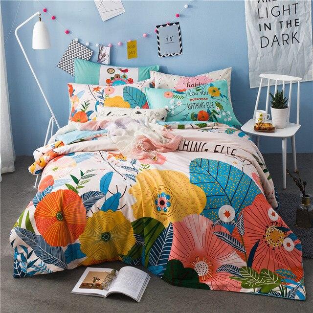 IvaRose Girls/boys Bedding Set Bright Color Tree Bed Linen Kids Duvet Cover Sets  Twin
