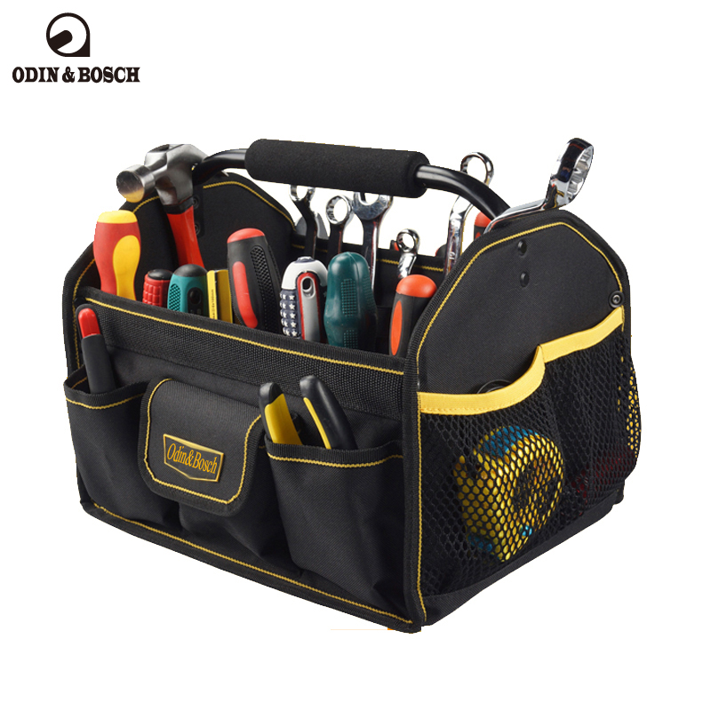 Odin&Bosch Cheap empty portable hardware mechanic us general open tool bag with metal hand empty death
