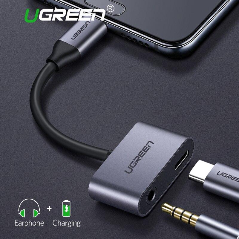 где купить Ugreen USB C to Jack 3.5 Type C Cable Adapter For Huawei P20 Pro Xiaomi Mi 6 8 Note3 Mix USB Type C 3.5mm AUX Earphone Converter дешево