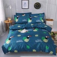 Leaf Pattern Bedding Set Queen Size Bed Linen 4pcs/Set Duvet Cover Set Bed Sheet AB Side Duvet Cover 2019 Bed Polyester Fabric