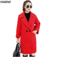 Women Woolen Coat 2017 Autumn Winter High Quality Coat Thick Medium Long Wool Jacket Loose Large Size Female Costume YAGENZ K436