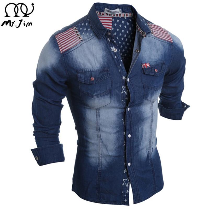MR.JIM 2016 New Brand Mens Denim Shirts Long Sleeve Men Dress Shirt Fashion Slim Fit Style Navy ...